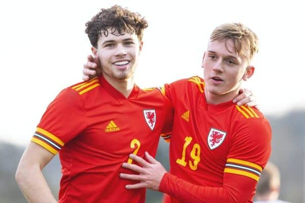 CARDIFF, WALES - Saturday, November 16, 2019: Walesí Neco Williams (left) celebrates scoring his side's second goal from the penalty spot with Isaak Davies during the UEFA Under-19 Championship Qualifying Group 5 match between Russia and Wales at the Cardiff International Sports Stadium. (Pic by Mark Hawkins/Propaganda)