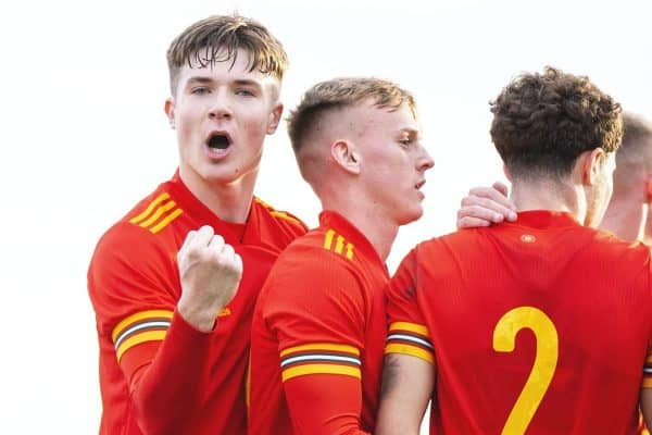 Walesí Morgan Boyes celebrates his side's second goal during the UEFA Under-19 Championship Qualifying Group 5 match between Russia and Wales at the Cardiff International Sports Stadium. (Pic by Mark Hawkins/Propaganda)