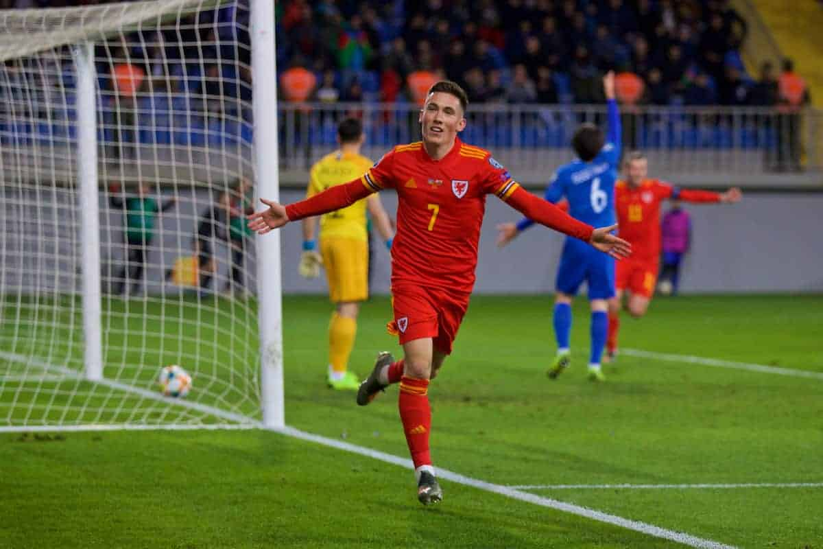 BAKU, AZERBAIJAN - Saturday, November 16, 2019: Wales' Harry Wilson celebrates scoring the second goal during the UEFA Euro 2020 Qualifying Group E match between Azerbaijan and Wales at the Bakcell Arena. (Pic by David Rawcliffe/Propaganda)