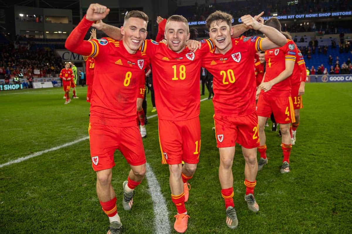 CARDIFF, WALES - Tuesday, November 19, 2019: Wales' (L-R) Harry Wilson, Joseff Morrell and Daniel James celebrate after the final UEFA Euro 2020 Qualifying Group E match between Wales and Hungary at the Cardiff City Stadium. Wales won 2-0 and qualifyied for the Finals. (Pic by David Rawcliffe/Propaganda)