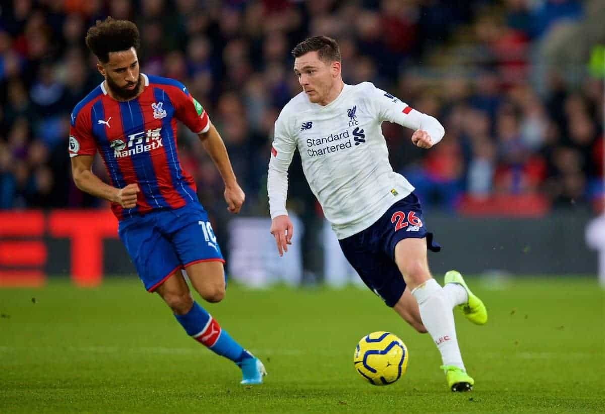 LONDON, ENGLAND - Saturday, November 23, 2019: Liverpool's Andy Robertson (R) and Crystal Palace's Andros Townsend during the FA Premier League match between Crystal Palace and Liverpool FC at Selhurst Park. (Pic by David Rawcliffe/Propaganda)