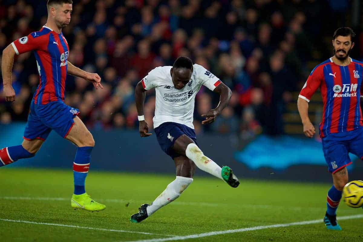LONDON, ENGLAND - Saturday, November 23, 2019: Liverpool's Sadio Mané shoots at goal during the FA Premier League match between Crystal Palace and Liverpool FC at Selhurst Park. (Pic by David Rawcliffe/Propaganda)