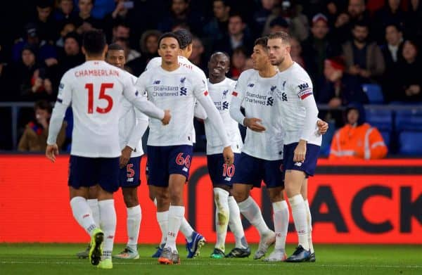 LONDON, ENGLAND - Saturday, November 23, 2019: Liverpool's Sadio Mané celebrates scoring the first goal with team-mates during the FA Premier League match between Crystal Palace and Liverpool FC at Selhurst Park. (Pic by David Rawcliffe/Propaganda)