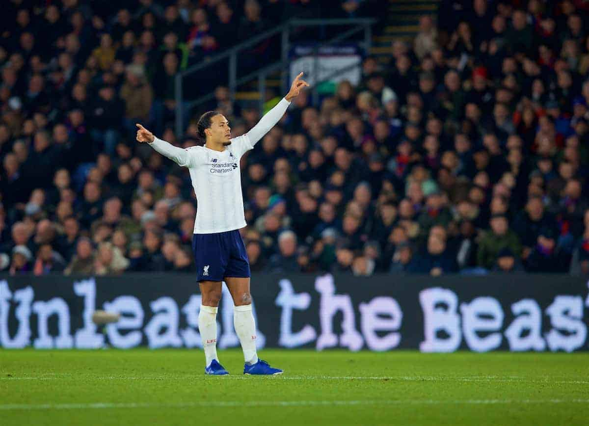LONDON, ENGLAND - Saturday, November 23, 2019: Liverpool's Van Dijk during the FA Premier League match between Crystal Palace and Liverpool FC at Selhurst Park. (Pic by David Rawcliffe/Propaganda)