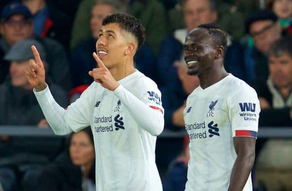 LONDON, ENGLAND - Saturday, November 23, 2019: Liverpool's Roberto Firmino (L) celebrates scoring the second goal with team-mate Sadio Mané during the FA Premier League match between Crystal Palace and Liverpool FC at Selhurst Park. (Pic by David Rawcliffe/Propaganda)