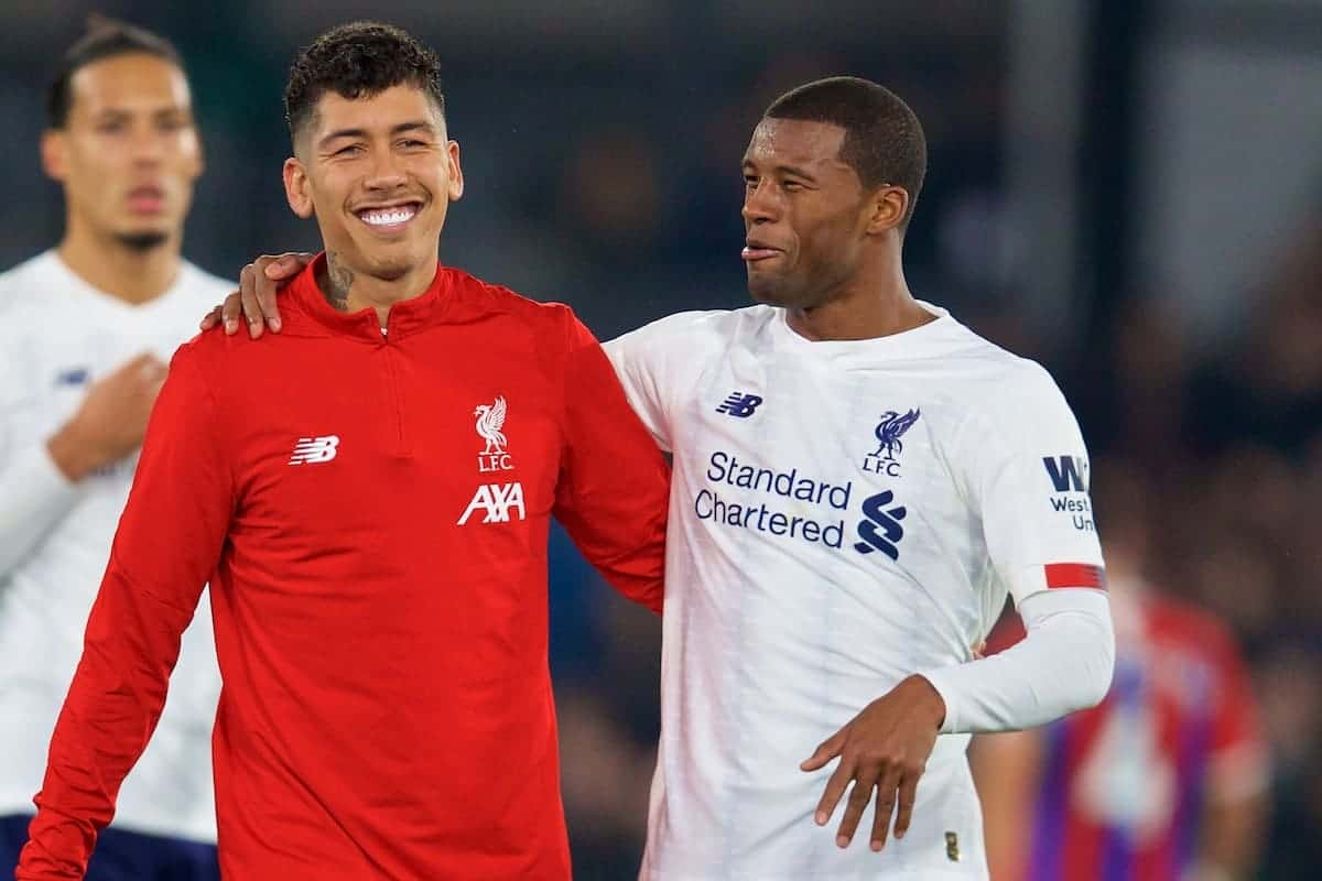 LONDON, ENGLAND - Saturday, November 23, 2019: Liverpool's Roberto Firmino (L) and Georginio Wijnaldum celebrate after the FA Premier League match between Crystal Palace and Liverpool FC at Selhurst Park. Liverpool won 2-1. (Pic by David Rawcliffe/Propaganda)