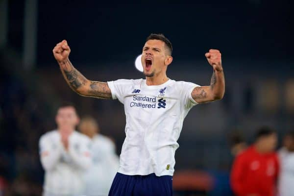 LONDON, ENGLAND - Saturday, November 23, 2019: Liverpool's Dejan Lovren celebrates after the FA Premier League match between Crystal Palace and Liverpool FC at Selhurst Park. Liverpool won 2-1. (Pic by David Rawcliffe/Propaganda)