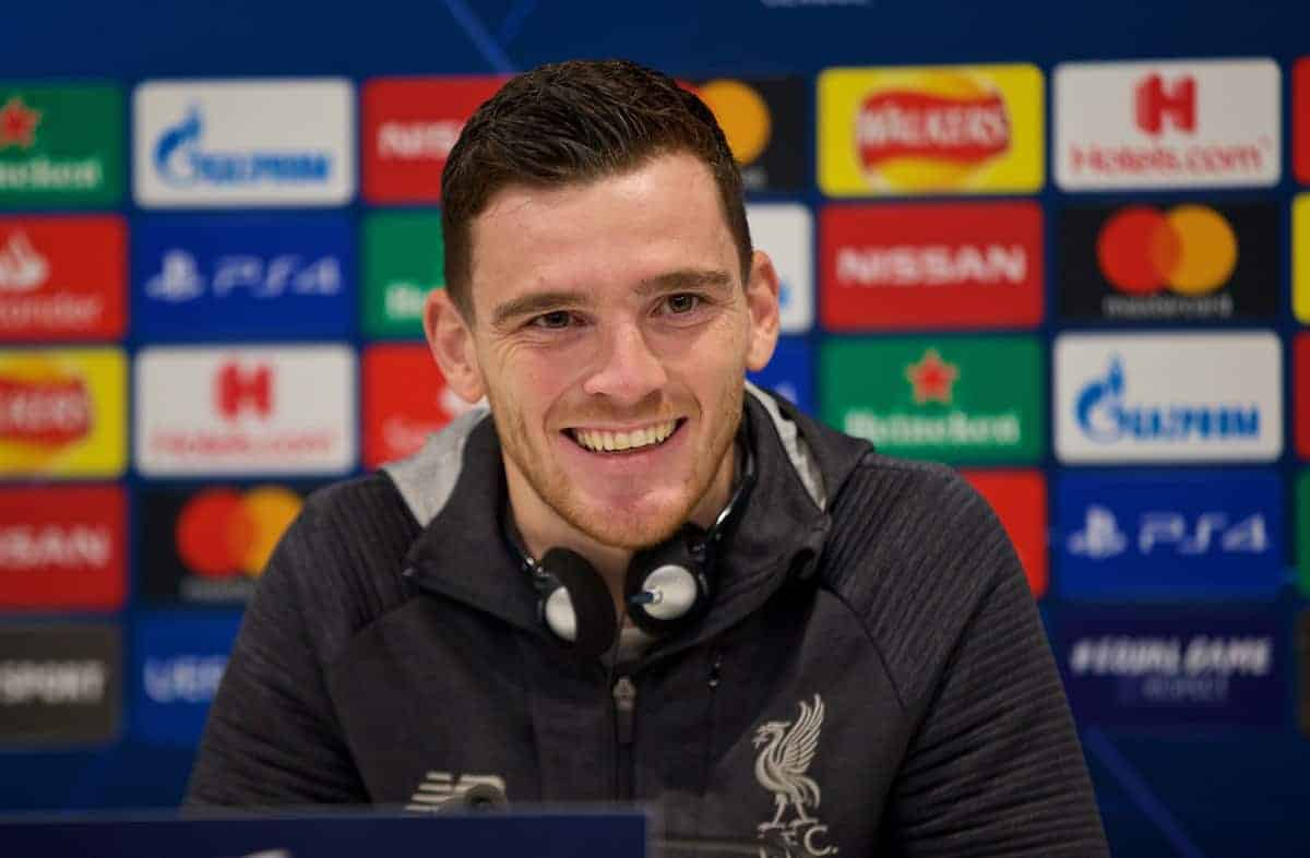LIVERPOOL, ENGLAND - Tuesday, November 26, 2019: Liverpool's Andy Robertson during a press conference at Anfield ahead of the UEFA Champions League Group E match between Liverpool FC and SSC Napoli. (Pic by David Rawcliffe/Propaganda)