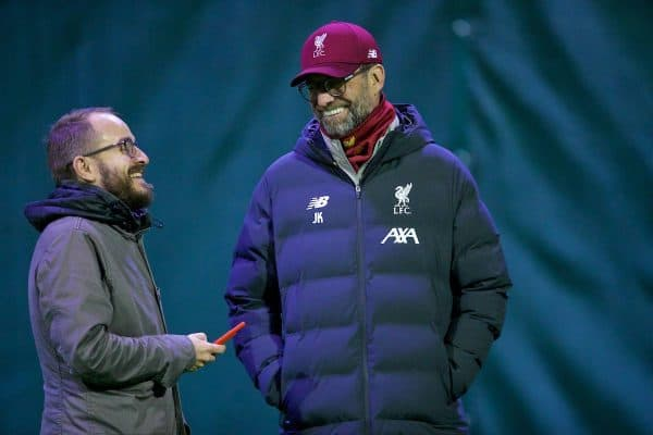 LIVERPOOL, ENGLAND - Tuesday, November 26, 2019: Liverpool's manager Jürgen Klopp and press officer Matt McCann during a training session at Melwood Training Ground ahead of the UEFA Champions League Group E match between Liverpool FC and SSC Napoli. (Pic by David Rawcliffe/Propaganda)