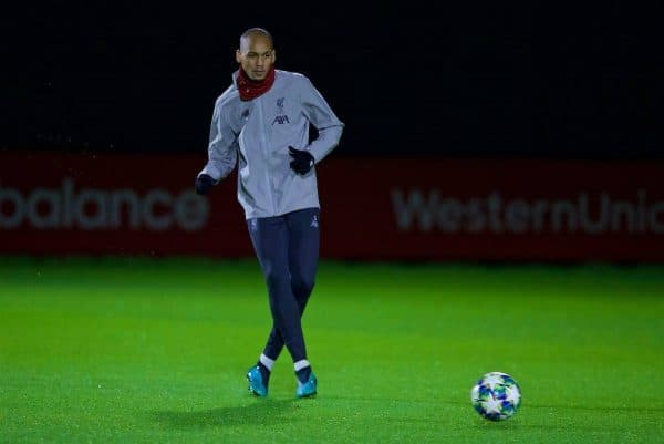 LIVERPOOL, ENGLAND - Tuesday, November 26, 2019: Liverpool's Fabio Henrique Tavares 'Fabinho' during a training session at Melwood Training Ground ahead of the UEFA Champions League Group E match between Liverpool FC and SSC Napoli. (Pic by David Rawcliffe/Propaganda)
