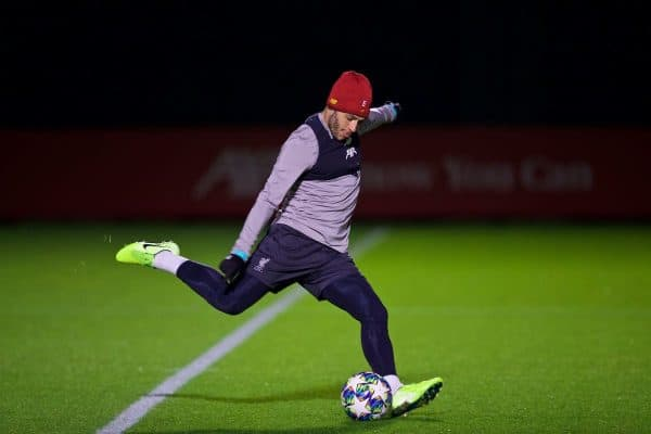 LIVERPOOL, ENGLAND - Tuesday, November 26, 2019: Liverpool's Alex Oxlade-Chamberlain during a training session at Melwood Training Ground ahead of the UEFA Champions League Group E match between Liverpool FC and SSC Napoli. (Pic by David Rawcliffe/Propaganda)