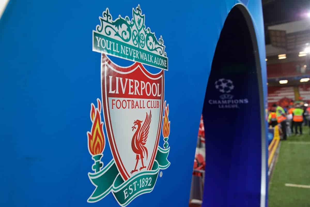 LIVERPOOL, ENGLAND - Wednesday, November 27, 2019: Liverpool crest on the Champions Arch before the UEFA Champions League Group E match between Liverpool FC and SSC Napoli at Anfield. (Pic by David Rawcliffe/Propaganda)