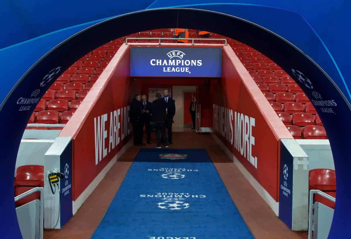 LIVERPOOL, ENGLAND - Wednesday, November 27, 2019: Liverpool and SSC Napoli crests on the Champions Arch before the UEFA Champions League Group E match between Liverpool FC and SSC Napoli at Anfield. (Pic by David Rawcliffe/Propaganda)