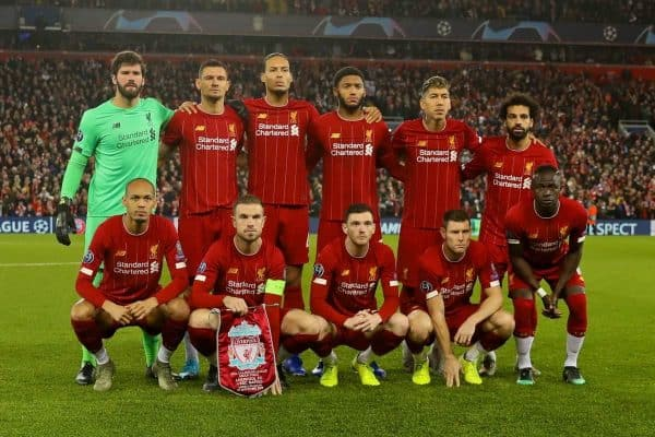 LIVERPOOL, ENGLAND - Wednesday, November 27, 2019: Liverpool players line-up for a team group photograph before the UEFA Champions League Group E match between Liverpool FC and SSC Napoli at Anfield. Back row L-R: goalkeeper Alisson Becker, Dejan Lovren, Virgil van Dijk, Joe Gomez, Roberto Firmino, Mohamed Salah. Front row L-R: Fabio Henrique Tavares 'Fabinho', captain Jordan Henderson, Andy Robertson, James Milner., Sadio Mané. (Pic by David Rawcliffe/Propaganda)