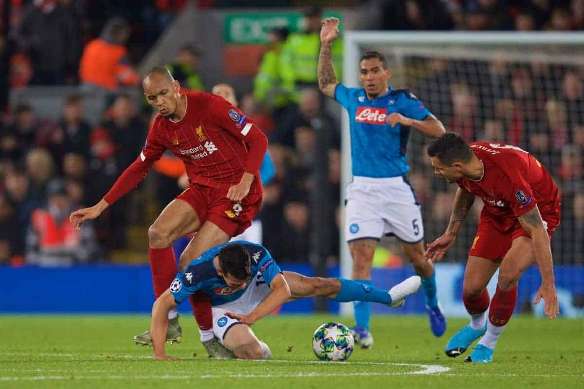 LIVERPOOL, ENGLAND - Wednesday, November 27, 2019: SSC Napoli's Hirving Lozano falls onto the left ankle of Liverpool's Fabio Henrique Tavares 'Fabinho' during the UEFA Champions League Group E match between Liverpool FC and SSC Napoli at Anfield. (Pic by David Rawcliffe/Propaganda)