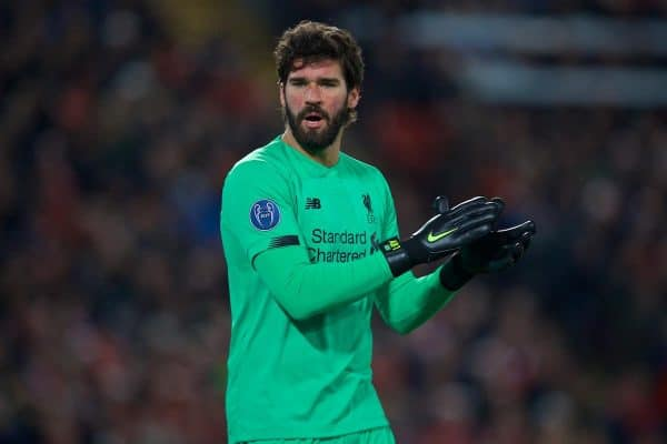 LIVERPOOL, ENGLAND - Wednesday, November 27, 2019: Liverpool's goalkeeper Alisson Becker during the UEFA Champions League Group E match between Liverpool FC and SSC Napoli at Anfield. (Pic by David Rawcliffe/Propaganda)