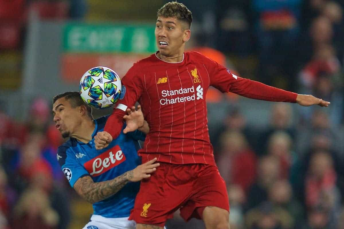 LIVERPOOL, ENGLAND - Wednesday, November 27, 2019: Liverpool's Roberto Firmino (R) and SSC Napoli's Allan Marques Loureiro during the UEFA Champions League Group E match between Liverpool FC and SSC Napoli at Anfield. (Pic by David Rawcliffe/Propaganda)