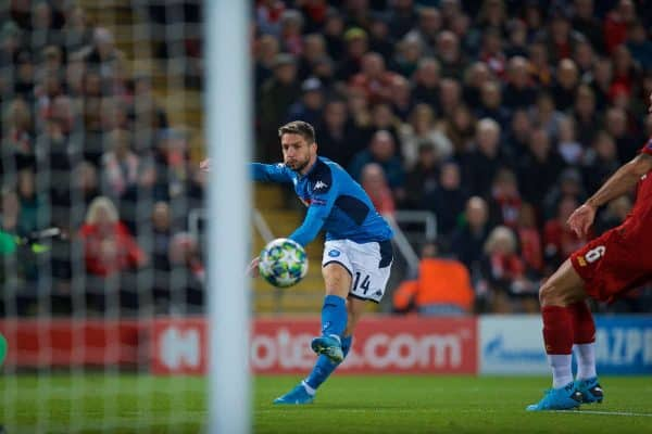 LIVERPOOL, ENGLAND - Wednesday, November 27, 2019: SSC Napoli's Dries Mertens scores the first goal during the UEFA Champions League Group E match between Liverpool FC and SSC Napoli at Anfield. (Pic by David Rawcliffe/Propaganda)