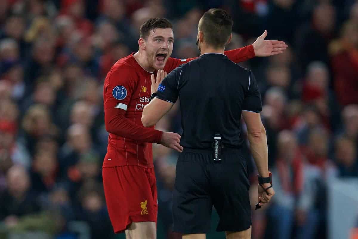 LIVERPOOL, ENGLAND - Wednesday, November 27, 2019: Liverpool's Andy Robertson appeals to the referee after Napoli score the opening goal during the UEFA Champions League Group E match between Liverpool FC and SSC Napoli at Anfield. (Pic by David Rawcliffe/Propaganda)