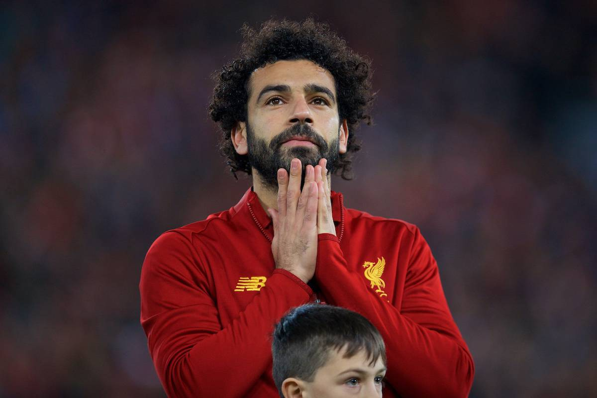 LIVERPOOL, ENGLAND - Wednesday, November 27, 2019: Liverpool's Mohamed Salah lines-up before the UEFA Champions League Group E match between Liverpool FC and SSC Napoli at Anfield. (Pic by David Rawcliffe/Propaganda)