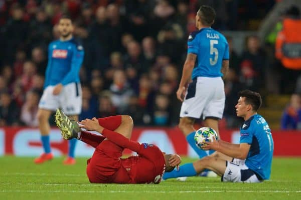 LIVERPOOL, ENGLAND - Wednesday, November 27, 2019: Liverpool's Fabio Henrique Tavares 'Fabinho' goes down with an injury to his left ankle during the UEFA Champions League Group E match between Liverpool FC and SSC Napoli at Anfield. (Pic by David Rawcliffe/Propaganda)