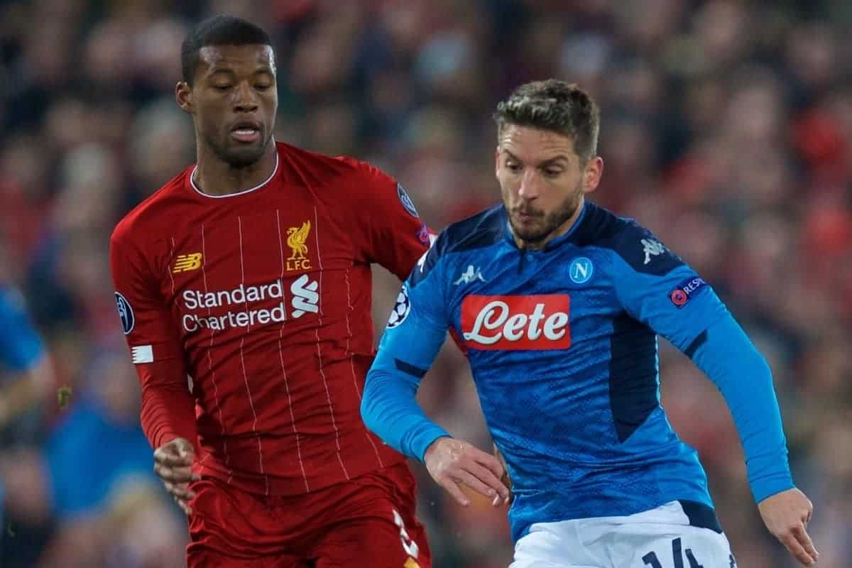 LIVERPOOL, ENGLAND - Wednesday, November 27, 2019: SSC Napoli's Dries Mertens (R) and Liverpool's Georginio Wijnaldum during the UEFA Champions League Group E match between Liverpool FC and SSC Napoli at Anfield. (Pic by David Rawcliffe/Propaganda)