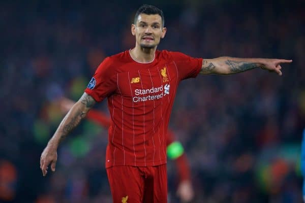LIVERPOOL, ENGLAND - Wednesday, November 27, 2019: Liverpool's Dejan Lovren during the UEFA Champions League Group E match between Liverpool FC and SSC Napoli at Anfield. (Pic by David Rawcliffe/Propaganda)