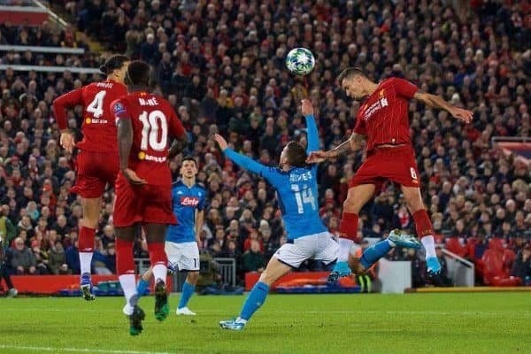 LIVERPOOL, ENGLAND - Wednesday, November 27, 2019: Liverpool's Dejan Lovren scores the first equalising goal with a header to level the score at 1-1 during the UEFA Champions League Group E match between Liverpool FC and SSC Napoli at Anfield. (Pic by David Rawcliffe/Propaganda)
