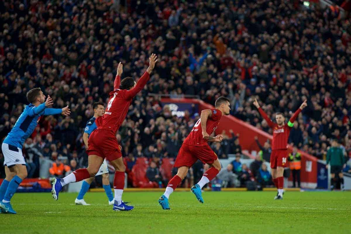 LIVERPOOL, ENGLAND - Wednesday, November 27, 2019: Liverpool's Dejan Lovren celebrates after the first equalising goal with a header to level the score at 1-1 during the UEFA Champions League Group E match between Liverpool FC and SSC Napoli at Anfield. (Pic by David Rawcliffe/Propaganda)