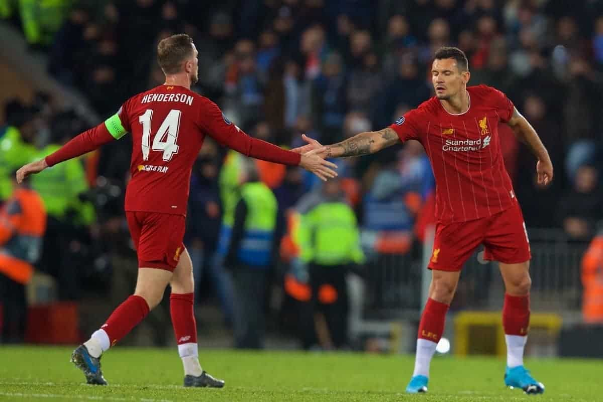 LIVERPOOL, ENGLAND - Wednesday, November 27, 2019: Liverpool's Dejan Lovren (R) celebrates after scoring the first equalising goal with a header to level the score at 1-1 during the UEFA Champions League Group E match between Liverpool FC and SSC Napoli at Anfield. (Pic by David Rawcliffe/Propaganda)