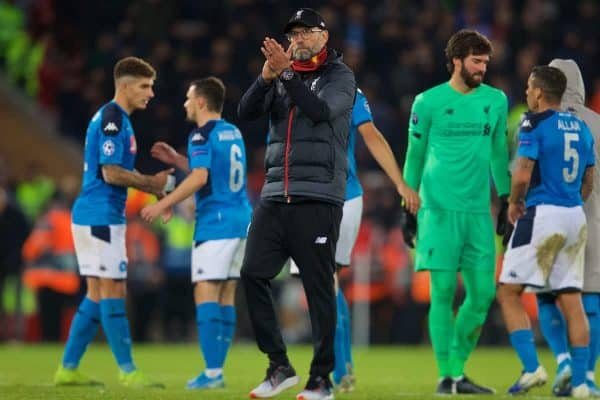 LIVERPOOL, ENGLAND - Wednesday, November 27, 2019: Liverpool's manager Jürgen Klopp applauds the supporters after the UEFA Champions League Group E match between Liverpool FC and SSC Napoli at Anfield. The game ended in a 1-1 draw. (Pic by David Rawcliffe/Propaganda)