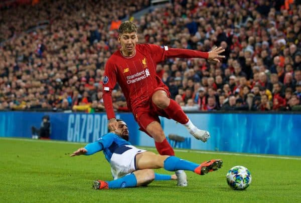 LIVERPOOL, ENGLAND - Wednesday, November 27, 2019: Liverpool's Roberto Firmino (R) and SSC Napoli's Kostas Manolas during the UEFA Champions League Group E match between Liverpool FC and SSC Napoli at Anfield. (Pic by David Rawcliffe/Propaganda)