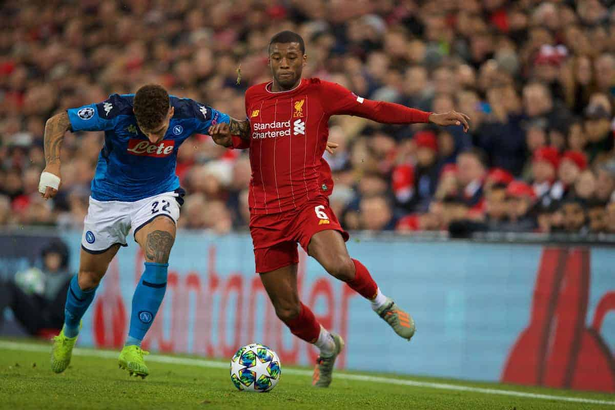 LIVERPOOL, ENGLAND - Wednesday, November 27, 2019: Liverpool's Georginio Wijnaldum (R) and SSC Napoli's Giovanni Di Lorenzo during the UEFA Champions League Group E match between Liverpool FC and SSC Napoli at Anfield. (Pic by David Rawcliffe/Propaganda)