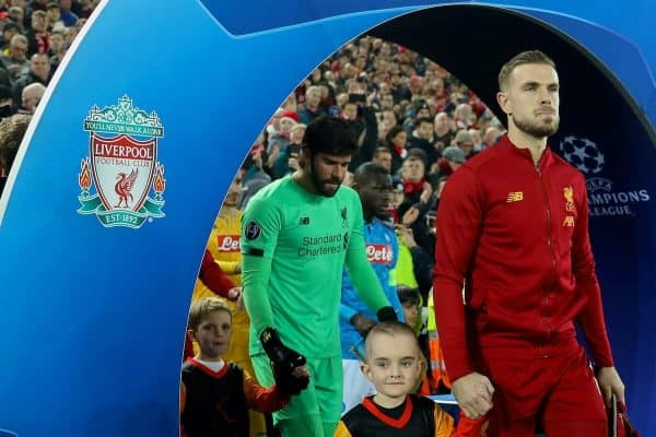 LIVERPOOL, ENGLAND - Wednesday, November 27, 2019: Liverpool's captain Jordan Henderson leads his side out before the UEFA Champions League Group E match between Liverpool FC and SSC Napoli at Anfield. (Pic by David Rawcliffe/Propaganda)