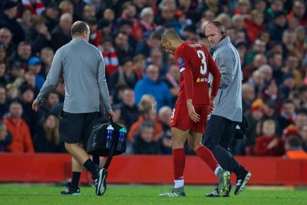 Liverpool's Fabio Henrique Tavares 'Fabinho' goes off injured during the UEFA Champions League Group E match between Liverpool FC and SSC Napoli at Anfield. (Pic by David Rawcliffe/Propaganda)