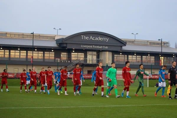 KIRKBY, ENGLAND - Wednesday, November 27, 2019: Liverpool's captain Curtis Jones leads his side out before2 the UEFA Youth League Group E match between Liverpool FC Under-19's and SSC Napoli Under-19's at the Liverpool Academy. (Pic by David Rawcliffe/Propaganda)