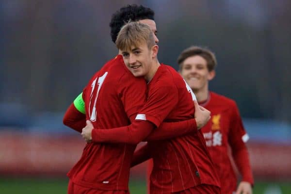 KIRKBY, ENGLAND - Wednesday, November 27, 2019: Liverpool's Jake Cain (R) celebrates scoring the first goal with team-mate captain Curtis Jones during the UEFA Youth League Group E match between Liverpool FC Under-19's and SSC Napoli Under-19's at the Liverpool Academy. (Pic by David Rawcliffe/Propaganda)