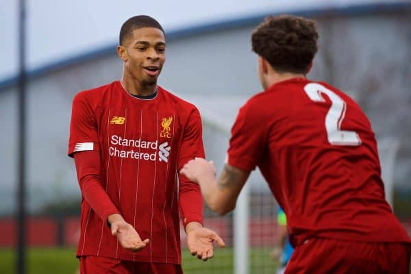 KIRKBY, ENGLAND - Wednesday, November 27, 2019: Liverpool's Elijah Dixon-Bonner celebrates scoring the third goal with team-mate Neco Williams (R) during the UEFA Youth League Group E match between Liverpool FC Under-19's and SSC Napoli Under-19's at the Liverpool Academy. (Pic by David Rawcliffe/Propaganda)