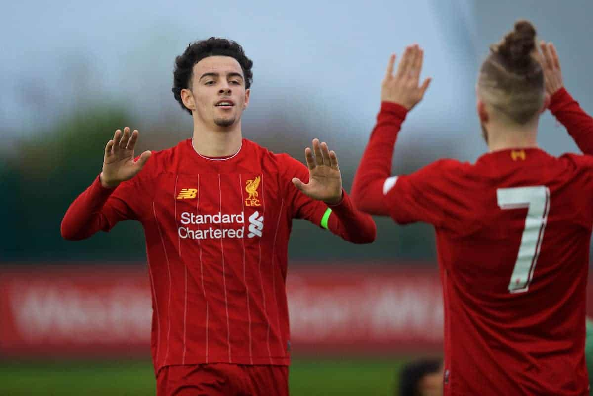 KIRKBY, ENGLAND - Wednesday, November 27, 2019: Liverpool's captain Curtis Jones celebrates scoring the fourth goal during the UEFA Youth League Group E match between Liverpool FC Under-19's and SSC Napoli Under-19's at the Liverpool Academy. (Pic by David Rawcliffe/Propaganda)