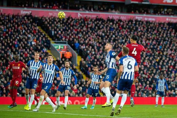 LIVERPOOL, ENGLAND - Saturday, November 30, 2019: Liverpool's Virgil van Dijk scores the first goal with a header during the FA Premier League match between Liverpool FC and Brighton & Hove Albion FC at Anfield. (Pic by David Rawcliffe/Propaganda)