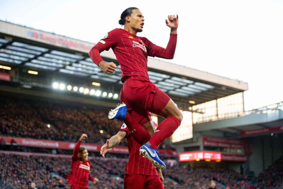 LIVERPOOL, ENGLAND - Saturday, November 30, 2019: Liverpool's Virgil van Dijk celebrates scoring the first goal during the FA Premier League match between Liverpool FC and Brighton & Hove Albion FC at Anfield. (Pic by David Rawcliffe/Propaganda)