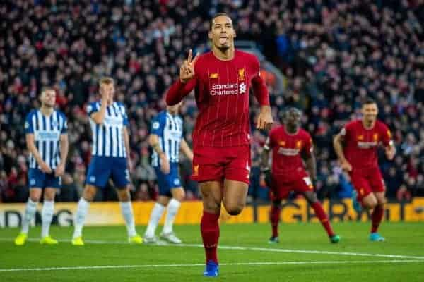 LIVERPOOL, ENGLAND - Saturday, November 30, 2019: Liverpool's Virgil van Dijk celebrates scoring the second goal, his seconf of the game, during the FA Premier League match between Liverpool FC and Brighton & Hove Albion FC at Anfield. (Pic by David Rawcliffe/Propaganda)