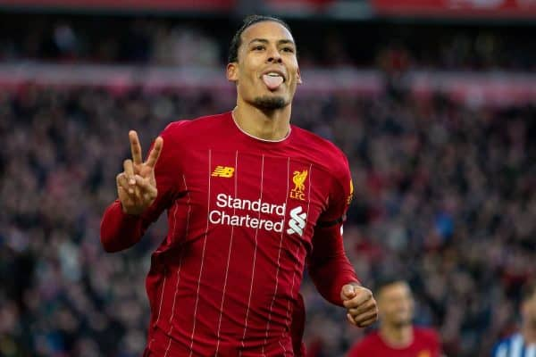 LIVERPOOL, ENGLAND - Saturday, November 30, 2019: Liverpool's Virgil van Dijk celebrates scoring the second goal, his second of the game, during the FA Premier League match between Liverpool FC and Brighton & Hove Albion FC at Anfield. (Pic by David Rawcliffe/Propaganda)