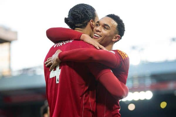 LIVERPOOL, ENGLAND - Saturday, November 30, 2019: Liverpool's Virgil van Dijk celebrates scoring the second goal, his second of the game, with team-mate Trent Alexander-Arnold who created the assist from a corner-kick, during the FA Premier League match between Liverpool FC and Brighton & Hove Albion FC at Anfield. (Pic by David Rawcliffe/Propaganda)