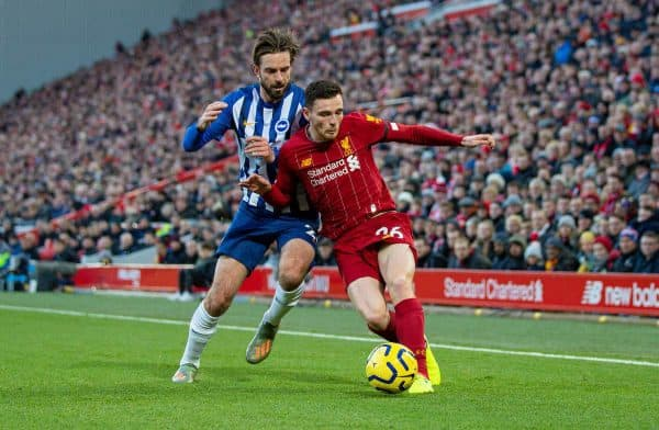 Liverpool's Andy Robertson during the FA Premier League match between Liverpool FC and Brighton & Hove Albion FC at Anfield. (Pic by David Rawcliffe/Propaganda)