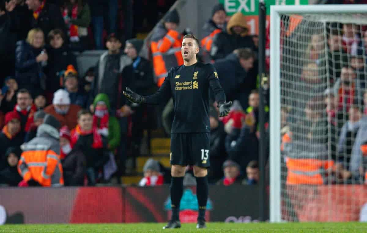 LIVERPOOL, ENGLAND - Saturday, November 30, 2019: Liverpool's substitute goalkeeper Adrián San Miguel del Castillo reacts after Brighton & Hove Albion score their first goal seconds after he came on following a red card for Alisson Becker during the FA Premier League match between Liverpool FC and Brighton & Hove Albion FC at Anfield. (Pic by David Rawcliffe/Propaganda)