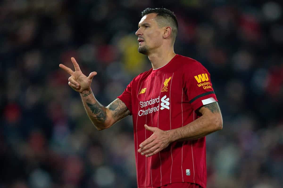 LIVERPOOL, ENGLAND - Saturday, November 30, 2019: Liverpool's Dejan Lovren celebrates winning the three points after the FA Premier League match between Liverpool FC and Brighton & Hove Albion FC at Anfield. Liverpool won 2-1 with ten men. (Pic by David Rawcliffe/Propaganda)