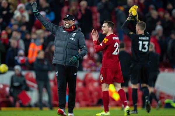 LIVERPOOL, ENGLAND - Saturday, November 30, 2019: Liverpool's manager Jürgen Klopp waves to the supporters after the FA Premier League match between Liverpool FC and Brighton & Hove Albion FC at Anfield. Liverpool won 2-1 with ten men. (Pic by David Rawcliffe/Propaganda)