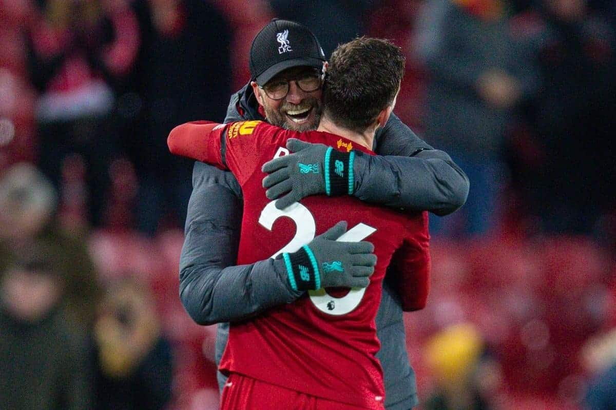 LIVERPOOL, ENGLAND - Saturday, November 30, 2019: Liverpool's manager Jürgen Klopp embraces Andy Robertson after the FA Premier League match between Liverpool FC and Brighton & Hove Albion FC at Anfield. Liverpool won 2-1 with ten men. (Pic by David Rawcliffe/Propaganda)