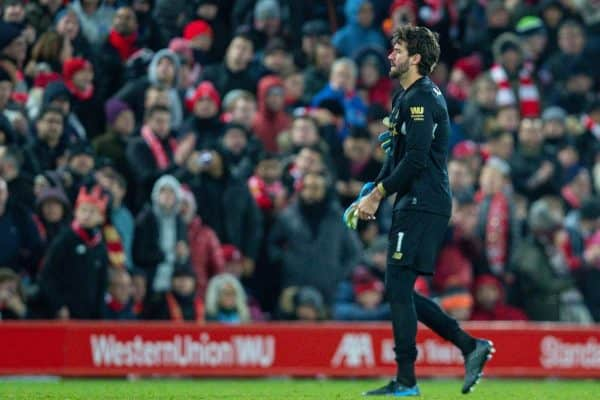 LIVERPOOL, ENGLAND - Saturday, November 30, 2019: Liverpool's goalkeeper Alisson Becker walks off after being shown a red card and sent off during the FA Premier League match between Liverpool FC and Brighton & Hove Albion FC at Anfield. (Pic by David Rawcliffe/Propaganda)